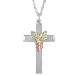 Black Hills Gold Sterling Silver Inspirational Cross Pendant Necklace