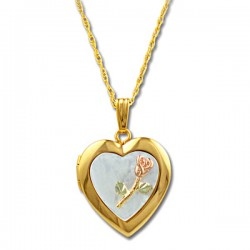 Black Hills Gold Mother of Pearl Heart Locket with 10K Rose