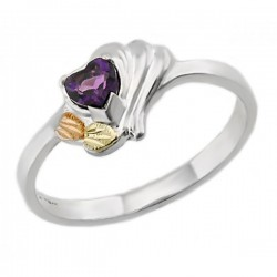 Sterling Silver Black Hills Gold Amethyst Ring By Landstroms
