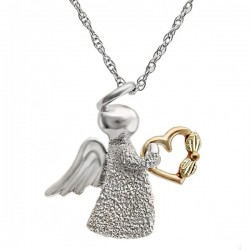 Black Hills Gold Sterling Silver Angel Pendant Necklace with Heart