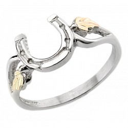 Black Hills Gold Sterling Silver Horseshoe Ring By Mt. Rushmore