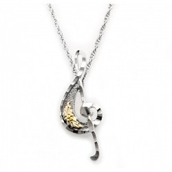 Black Hills Gold Sterling Silver Treble Clef Pendant Necklace