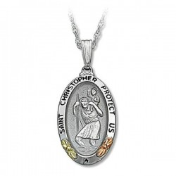 Black Hills Gold Sterling Silver Saint Christopher Pendant Necklace