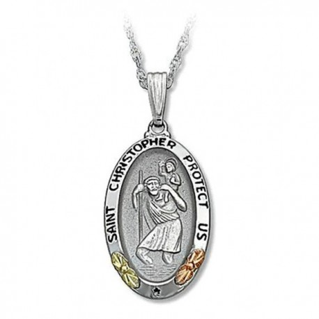 IN STOCK***BLACK HILLS GOLD STERLING SILVER SAINT CHRISTOPHER PENDANT NECKLACE*** IN STOCK