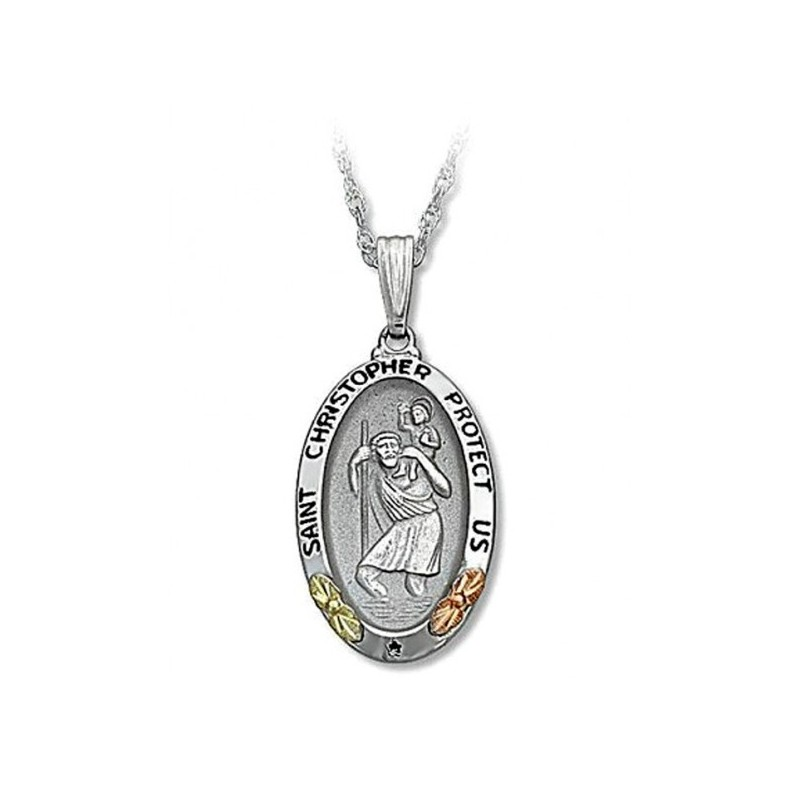 saint medallion pendant christopher medal gold white products