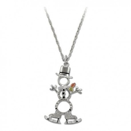 IN STOCK***BLACK HILLS GOLD STERLING SILVER SNOWMAN PENDANT NECKLACE*** IN STOCK