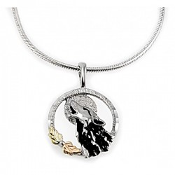 Black Hills Gold Sterling Silver Wolf Pendant Necklace