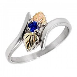 Black Hills Gold Sterling Silver Blue Sapphire Ladies Ring