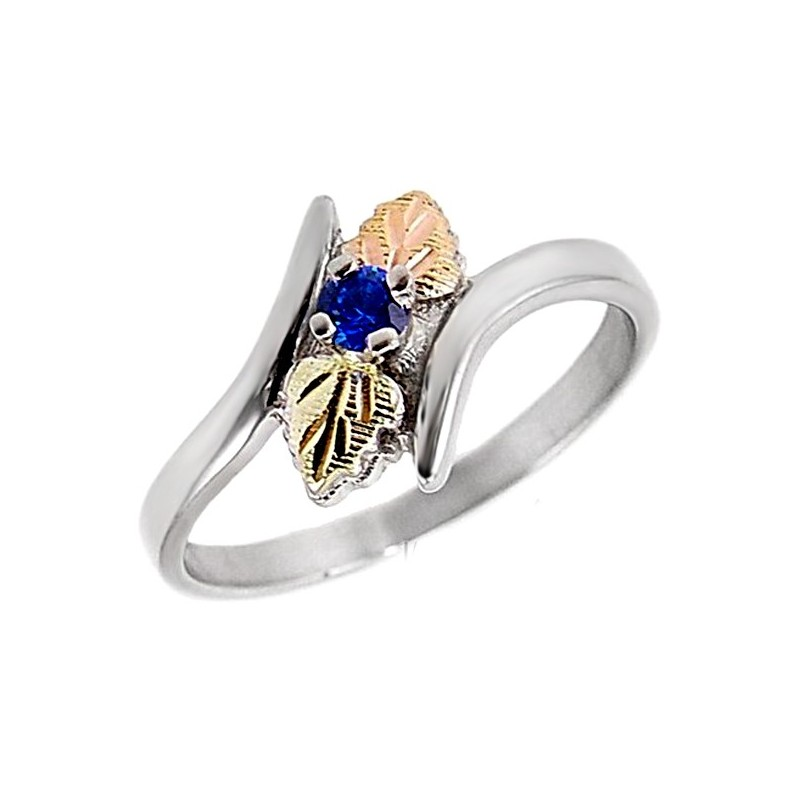Black Hills Gold Sterling Silver Blue Sapphire Ladies Ring ...