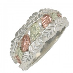Sterling Silver Ring With 12K Gold Leaves By Coleman