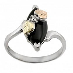 Black Hills Gold Sterling Silver Onyx Ladies Ring