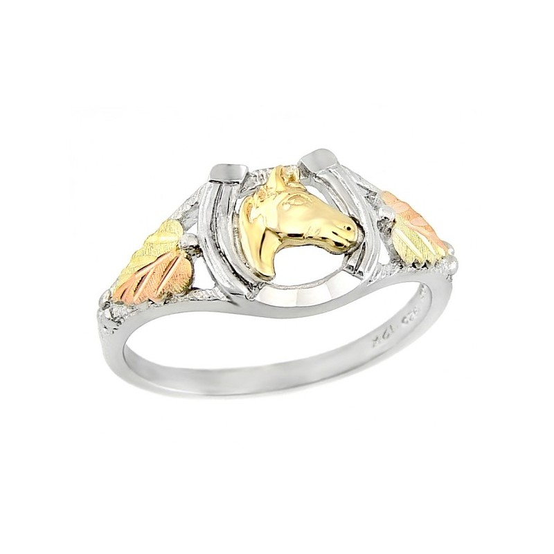 Black Hills Gold Sterling Silver Horseshoe Ladies Ring ...